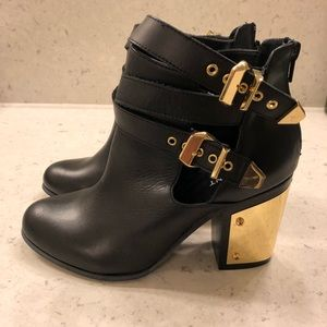 NEW Shoemint Black Booties with Gold Plated Heels